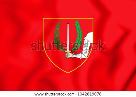 3D Flag of Birgu, Malta. 3D Illustration.