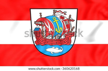 3D Flag of Bremerhaven, Germany. Close Up. - stock photo