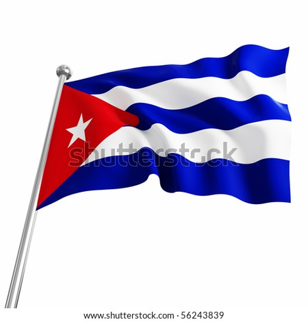 3d flag of cuba on white background