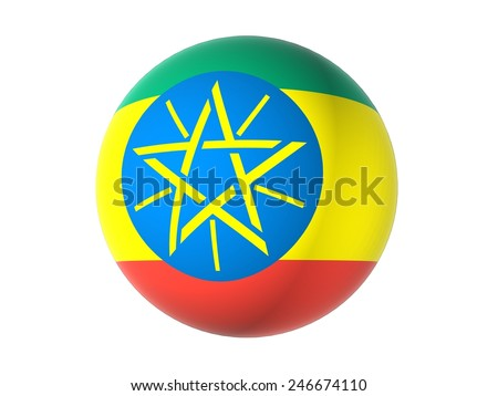 3D flag of Ethiopia, sphere isolated on white background  - stock photo