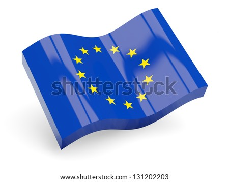 3d flag of european union isolated on white