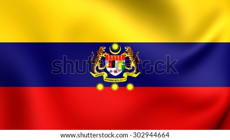 3D Flag of Federal Territories (Malaysia). Close Up.    - stock photo