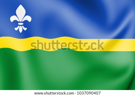 3D Flag of Flevoland, Netherlands. 3D Illustration.