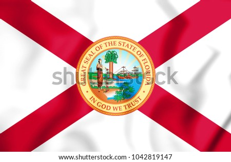 3D Flag of Florida (1900-1985), USA. 3D Illustration.