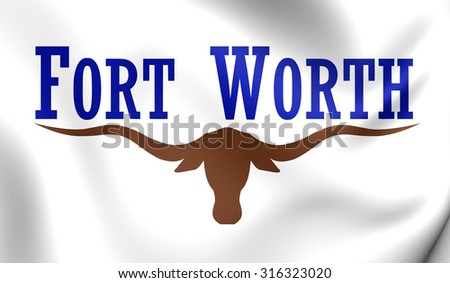 3D Flag of Fort Worth City, Texas. Close Up.    - stock photo