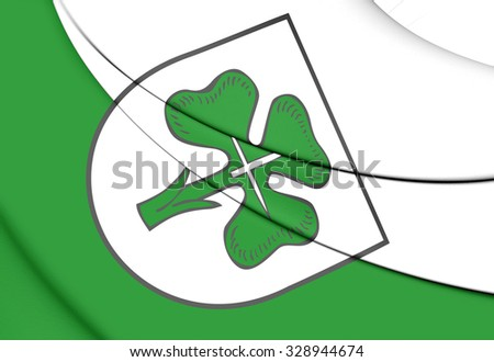 3D Flag of Furth (Bavaria), Germany. Close Up.    - stock photo