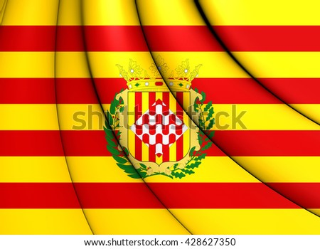 3D Flag of Girona Province, Spain. Close Up.   - stock photo