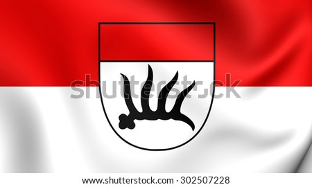 3D Flag of Goppingen City, Germany. Close Up.    - stock photo