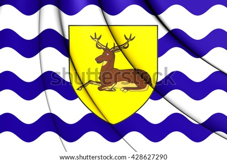 3D Flag of Hertfordshire County, England. Close Up.    - stock photo