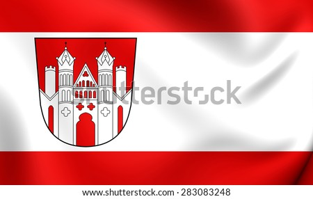 3D Flag of Hoxter, Germany. Close Up.    - stock photo