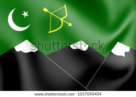 3D Flag of Hunza. 3D Illustration.