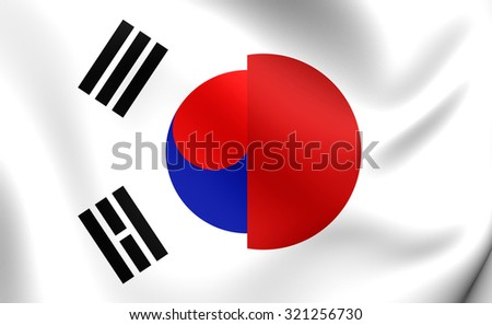 3D Flag of Japan and South Korea. Close Up.    - stock photo