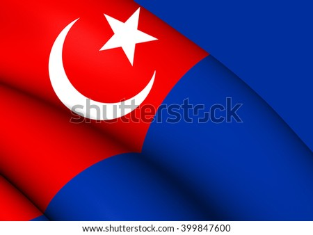 3D Flag of Johor, Malaysia. Close Up.    - stock photo