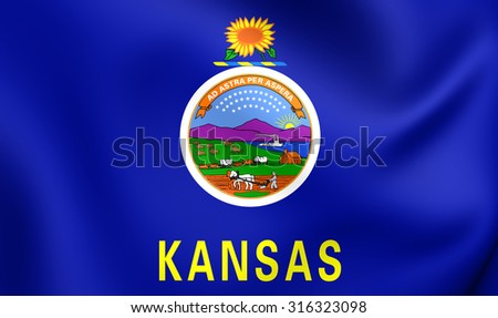 3D Flag of Kansas, USA. Close Up.