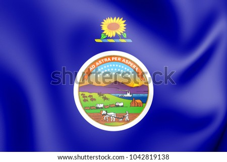 3D Flag of Kansas (1927-1961), USA. 3D Illustration.