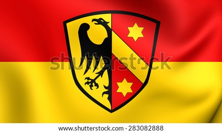 3D Flag of Kaufbeuren, Germany. Close Up.    - stock photo