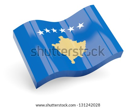 3d flag of kosovo isolated on white