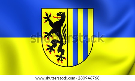3D Flag of Leipzig, Germany. Close Up.    - stock photo