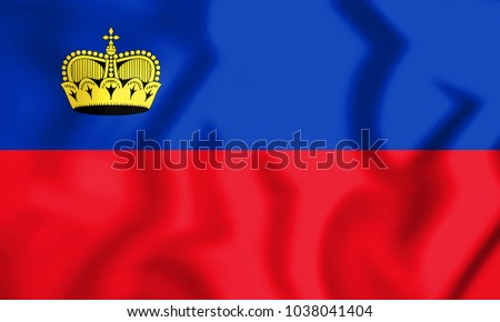3D Flag of Liechtenstein. 3D Illustration.