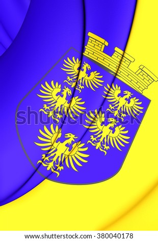 3D Flag of Lower Austria. Close Up.    - stock photo