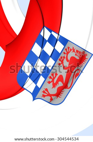 3D Flag of Lower Bavaria Regierungsbezirk, Germany. Close Up.    - stock photo