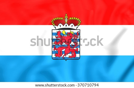 3D Flag of Luxembourg Province, Belgium. Close Up. - stock photo