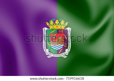 3D Flag of Malaga City, Spain. 3D Illustration.