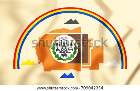 3D Flag of Navajo Nation. 3D Illustration.
