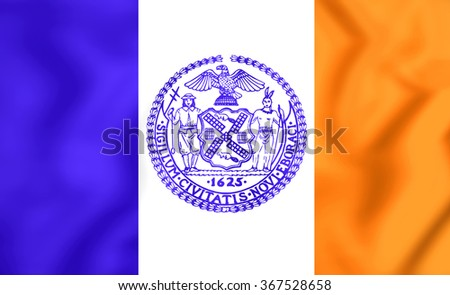 3D Flag of New York City, USA.   - stock photo