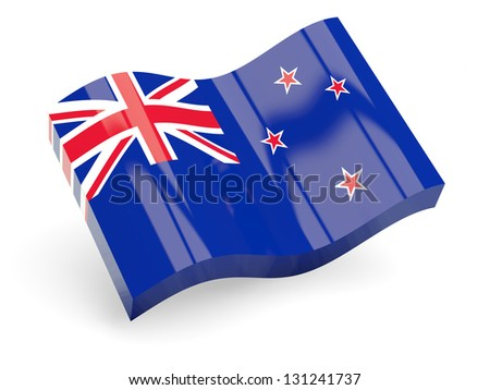 3d flag of new zealand isolated on white