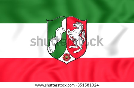 3D Flag of North Rhine-Westphalia, Germany. Close Up. - stock photo