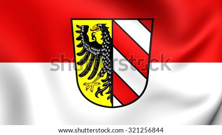 3D Flag of Nuremberg City, Germany. Close Up.    - stock photo