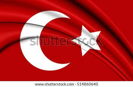 3D Flag of Ottoman Empire (1299-1923). 3D Illustration.