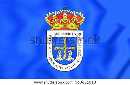 3D Flag of Oviedo City, Spain. Close Up. - stock photo