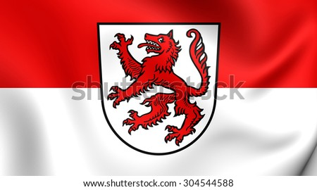 3D Flag of Passau City, Germany. Close Up.    - stock photo