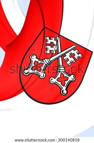 3D Flag of Regensburg City, Germany. Close Up.    - stock photo
