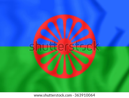 3D Flag of Romani People. Close Up. - stock photo