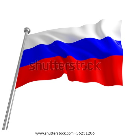 3d flag of russia on white background - stock photo