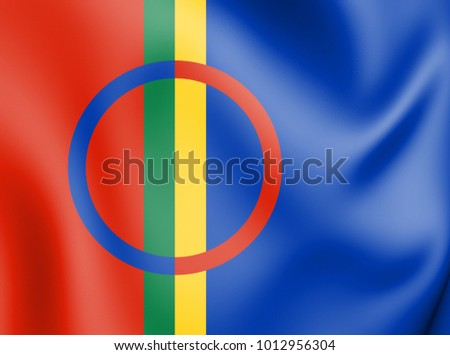 3D Flag of Sami. 3D Illustration.