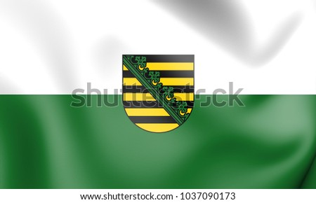 3D Flag of Saxony, Germany. 3D Illustration.