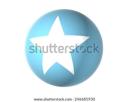 3D flag of Somalia, sphere isolated on white background  - stock photo