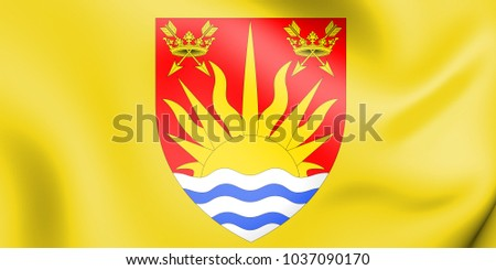 3D Flag of Suffolk County, England. 3D Illustration.