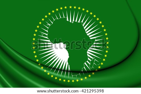 3D Flag of the African Union. Close Up.