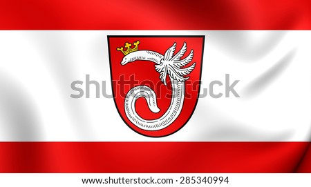 3D Flag of the Ahlen, Germany. Close Up.    - stock photo