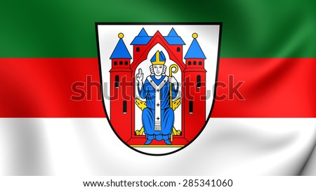 3D Flag of the Aschaffenburg City, Germany. Close Up.    - stock photo
