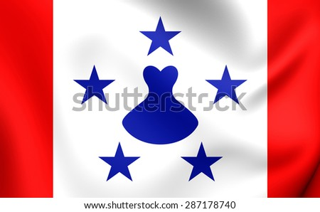 3D Flag of the Austral Islands, French Polynesia. Close Up. - stock photo