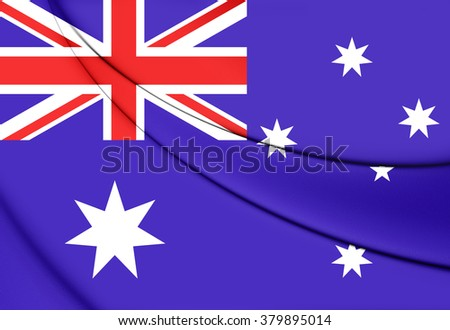 3D Flag of the Australia. Close Up.    - stock photo