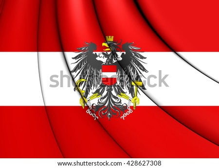3D Flag of the Austria. Close Up.   - stock photo
