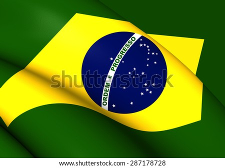 3D Flag of the Brazil. Close Up. - stock photo