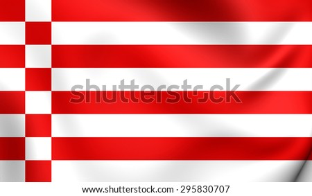 3D Flag of the Bremen, Germany. Close Up.